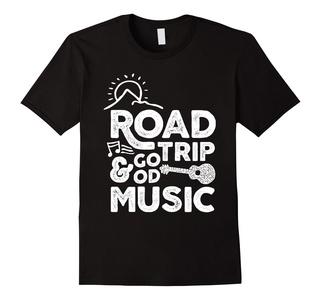 Men's Road Trip and Good Music - Travel Car T-shirt Small Black