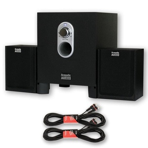 Acoustic Audio AA2101 Multimedia 250W 2.1 Home Speaker System with 2 Extension Cables AA2101-2