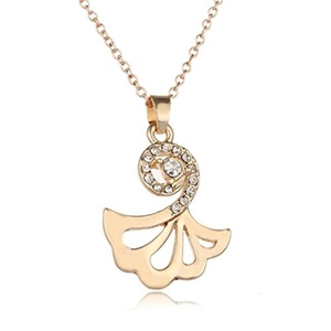 Rinhoo Charming Fan-shaped Dancing Girl Crystal Necklace Pendant White Gold Plated(Gold)