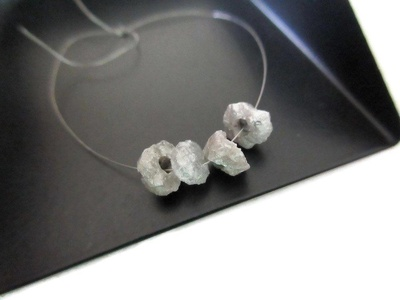 1 pcs Large Hole White Diamond Disc Beads, 2mm Hole Size, Natural Loose Raw Rough Diamond, Conflict Free