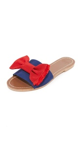 Frances Valentine Women's Judy Bow Slides, Blue/Red, 9 B(M) US