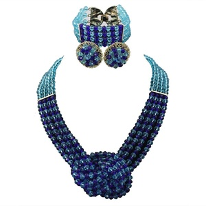 Africanbeads 4 Layers Crystal Choker Necklace Nigerian Wedding African Beads Jewelry Set Party Gift