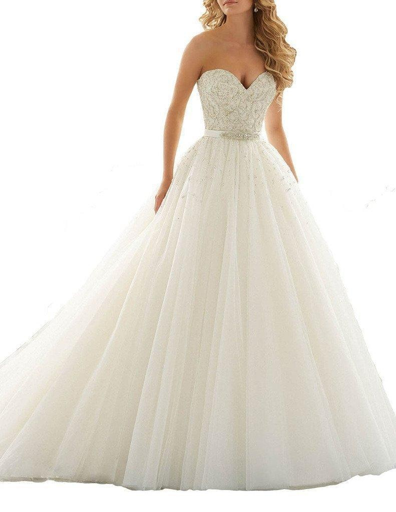 Sweetheart Tulle Crystal Plus Size Wedding Dresses Ball Gown Bridal Gowns Ivory 2