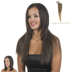 Clip-In Weft Hairpiece | 18 Long Straight Hair Extensions | Frappe Graduated Ash Blonde and Brown Mix by Hair Extensions By MissTresses