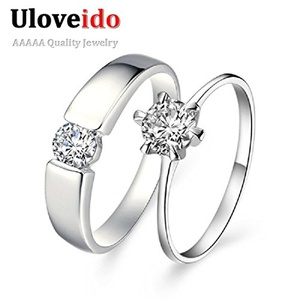 Slyq Jewelry Crystal Simulated Jewelry Wedding Band Engagement Ring Men Women Accessories Aliancas de Casamento J002