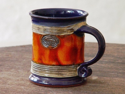 Ceramic Coffee Mug, Pottery Mug Wheel Thrown, Earthen mug, Blue and Orange Mug, Tea mug, Unique mug, Cute mug