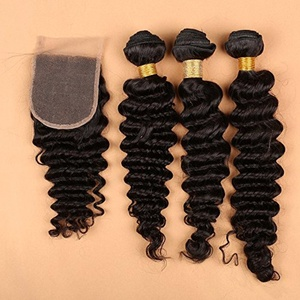 Slove Lace Closure with Bundles of Brazilian Virgin Human Hair Deep Wave Remy Free Part 4x4 Lace Closure Natural Black Color Bleached Knots Hair Extension 22 22 22 Closure 20