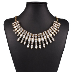 ARICO Moon Multi Layer Necklace Antique Gold Vintage Necklace Geometric Crystal Necklaces NE766