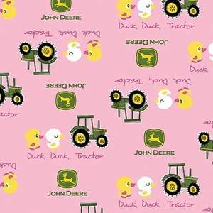 John Deere Duck Duck Tractor Pink Fabric From Springs Creative By the Yard