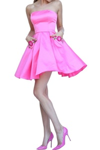 Winnie Bride Chic Embroidered Cocktail Homecoming Gruduation Dress for Juniors-24W-Hot pink