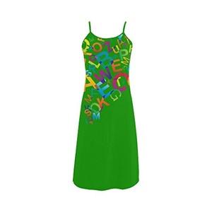 Abbie Miller Interesting Letter Custom Women's Polyester Casual Slip Dress Green