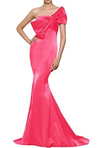 Vienna Bride Sexy Strapless Bow-knot Mermaid Formal Evening Dress Prom Gown-12-Pink