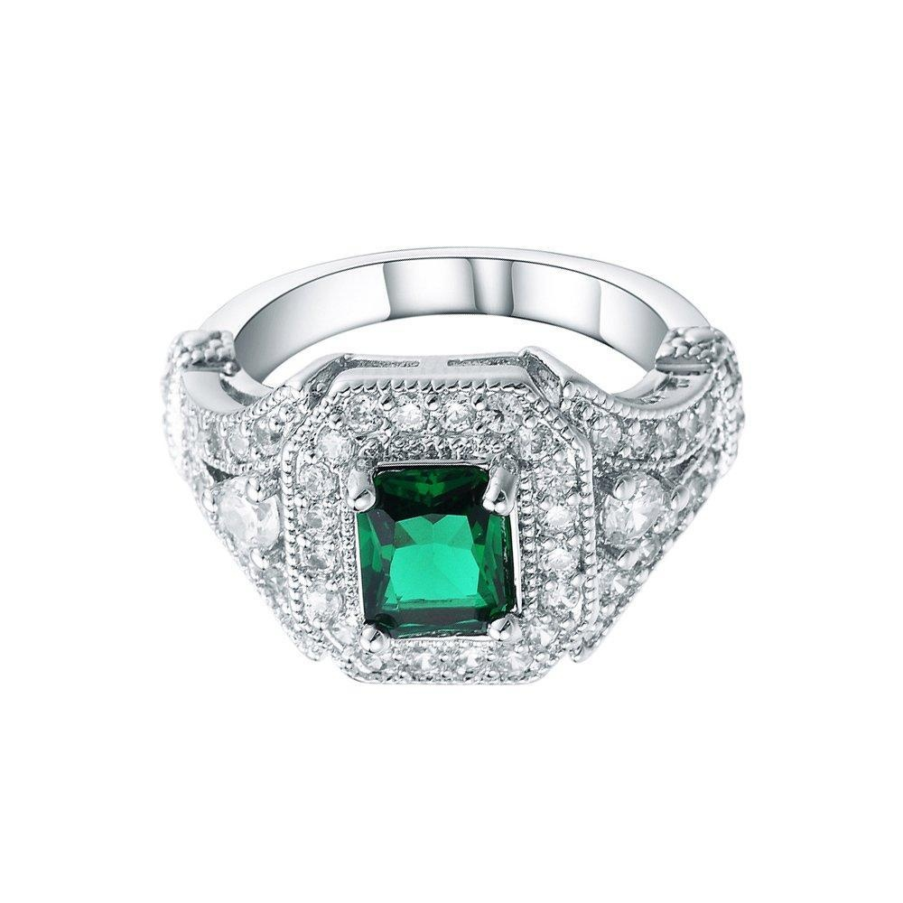 Sterling Silver Green Crystal AAA Zircon CZ Bridal Engagement Wedding Finger Ring Jewelry US 7.8.9