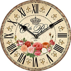 Eropean Vintage Antique Wood Wall Clocks Home Decor Flower Roman Numerals Decorative Quartz Wall Clock