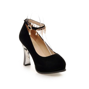 VASHOP Women's Charms Pearls Pendent High Heel Ankle Buckle Strap Pump Shoes,Black/5.5