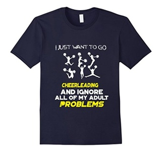 Men's I Just Want To Go CHEERLEADING And Ignore All T-Shirt XL Navy