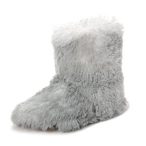 Women's Hi-Fashion Faux Fur Boot Slipper with Hard Sole - Grey Keeshond - L/XL