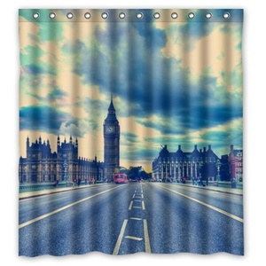 66(W)x72(H)-Inch Bridge Of London England New Waterproof Polyester Curtain (Shower Rings Included)