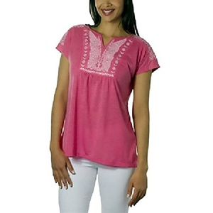 Micky London Womens Embroidered Tee Shirt, Large, Pink/White