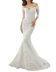 OYISHA Off Shoulder Lace Mermaid Wedding Dresses 1/2 Sleeve Bridal Gown WD164 White 26W