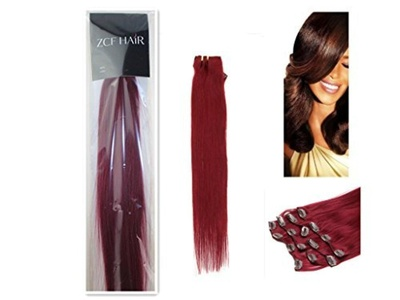 22'' 100% Real Human Hair 7Pcs Clip In Human Hair Extensions Straight Hair Color Bug 80g Beauty Design Salon by ZCF HAIR