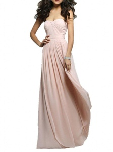 Winnie Bride Long Ruched Bridesmaid Dress Chiffon Formal Evening Prom Dresses-26W-Pearl Pink