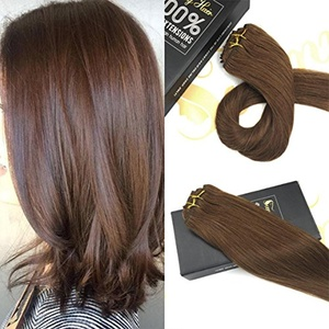 Sunny 20inch Human Hair Clip in Extensions Full Head Medium Brown #6 Straight Remy Clip in Hair Extensions Double Weft 7pcs 120G