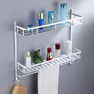 Space aluminum bathroom racks/Toilet wall mounted bathroom rack/ double Towel rack-A