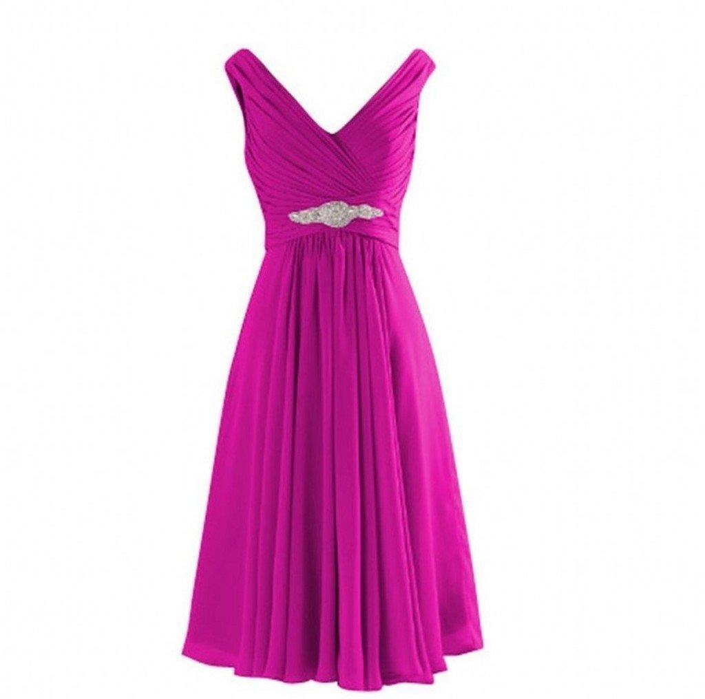 Winnie Bride Ruched Short Bridesmaid Wedding Party Dress Juniors Homecoming Gown-14-Fuchsia