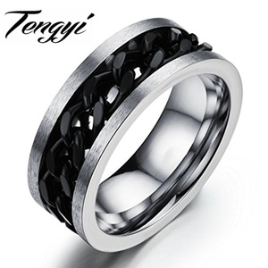 Slyq Jewelry Fashion 316L Stainless steel Ring for Men Black Circle Ring 8MM Width Ring Jewelry Size 7 8 9 10 TY317H