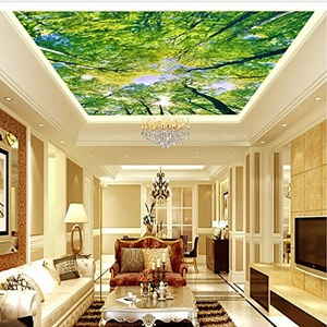FEI&S Large living room-bedroom ceiling ceiling fresh green scenery 3D wallpaper mural wallpaper Woods, extension