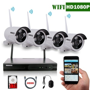 OOSSXX 4-Channel HD 1080P Wireless Network/IP Security Camera System(IP Wireless WIFI NVR Kits),4Pcs 2.0 Megapixel Wireless Indoor/Outdoor IR Bullet IP Cameras,P2P,App, HDMI Cord&1TB HDD Pre-install