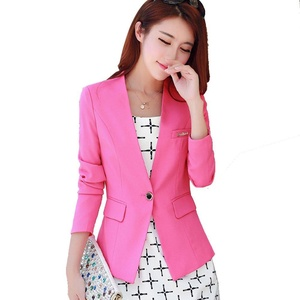 My Wonderful World Candy Color Office Blazer Casual OL Long Sleeve Suits Slim Fit One Button Jacket RoseRed Blazers for Juniors Womens