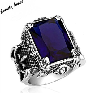 By Sterling Silver Express Sale! Vintage Art Deco Ring Thai Silver Titanium Steel Warrior Gem Stone Ring Antique Styled (7, Blue)