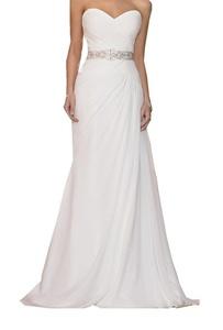 Meledy Women's A-Line Cross Ruffle Sweetheart Beaded Belt Chiffon Long Bridal Wedding Gowns White US10