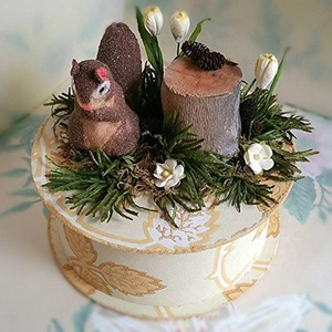 Handmade Squirrel Gift Box made with Vintage Wallpaper, natural and vintage elements and paper flowers