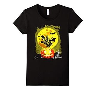 Women's Halloween with horse pumpkin and bat T-shirt XL Black