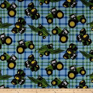 John Deere Tractors Plaid Blue Fabric By The Yard