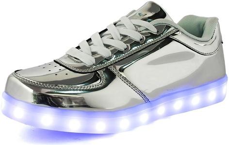 Uerescha Big Kids Light Up Shoe Metallic Leather Classic Low Top LED Flashing Lace Up Fashion Sneaker Silver Tone5 M US Big Kid