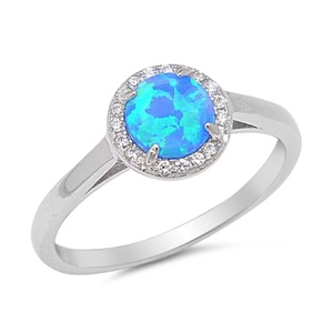 Halo Wedding Engagement Ring Round Lab Created Blue Opal Round Pave Cubic Zirconia 925 Sterling Silver