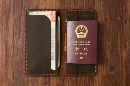 Personalized Distressed Genuine Leather passport wallet holder case / travel document holder / boarding pass holder / travel wallets -TW005S
