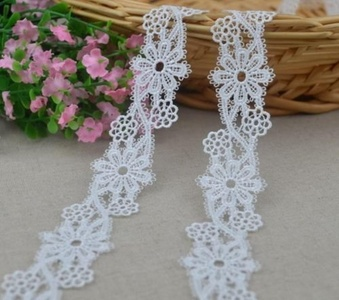 1 1/8 inch Wide White Color Crafts Sewing Handmade Embroidery Lace Trim DIY Craft Venice Trims Bridal Wedding Applique Polyester 1 Yard