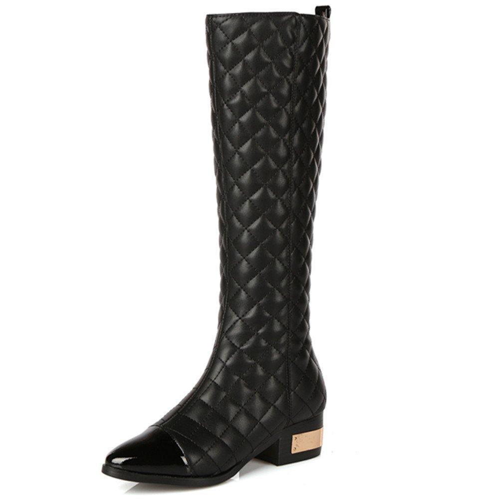 Nine Seven Patent Leather Women's Pointed Toe Chunky Heel Checks Mid Calf Handmade Boot (5.5, black)