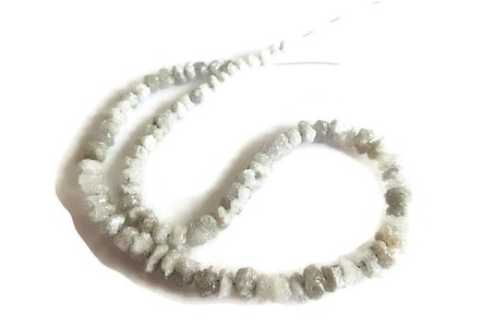 16 Inch Strand, 3-4mm White Conflict Free Diamonds Beads, Uncut Raw Rough Diamond Beads, SKU-DdW211