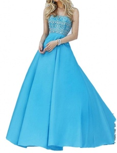 Winnie Bride Strapless Beading Evening Dress for Women Formal Long Prom Gown-26W-Sky Blue