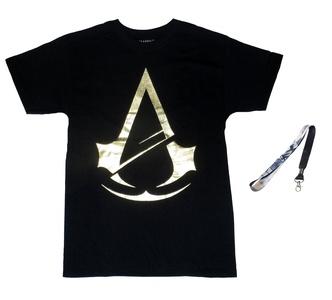 Assassins Creed Mens' Unity Gold Foil Logo Tee & Lanyard - 2 Piece Gift Set (XL)