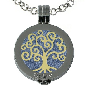 Quiges - Women Stainless Steel Necklace with 25mm Coin Locket and Coin Tree of Life/Flower of Life #1744