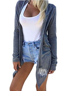 OURS Women Casual Long Sleeve Front Open Irregular Hem Hooded Cardigan Outerwear