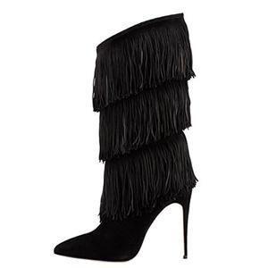 MERUMOTE Women's Tassel Fringe Stiletto High Heel Sexy Spring Winter Knee High Boots Black 12 US