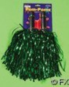 Value Pack of 6 Sets of Metallic Shiny Green Cheerleader Rooter Shaker Toy Pom Poms by McToy